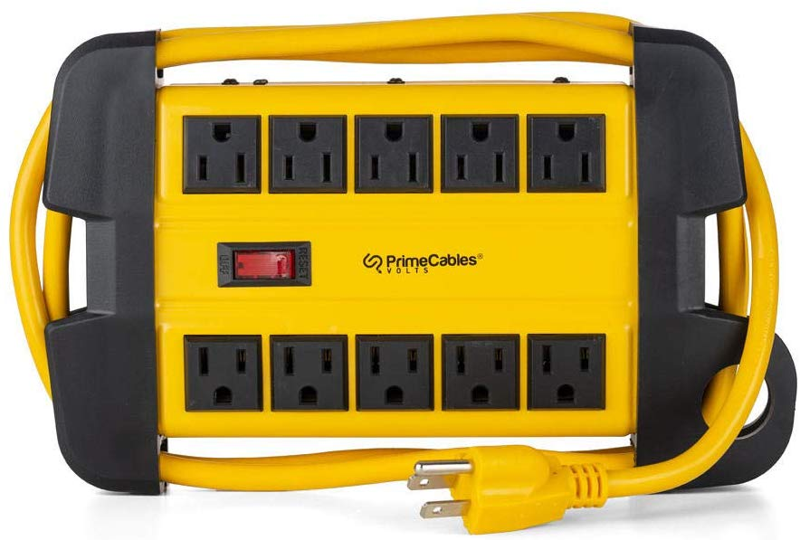 Prime Cables 10 Outlet Power Strip 900 Joules Surge Protector Metal with 6 Foot Cord