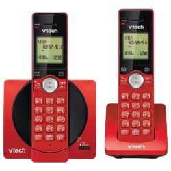 vtech 2 Handset Cordless Phone System Red with Caller ID/Call Waiting CS6919-26